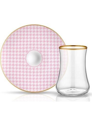 Koleksiyon Dervish Çay Seti 6'lı Ekose Pembe Renkli